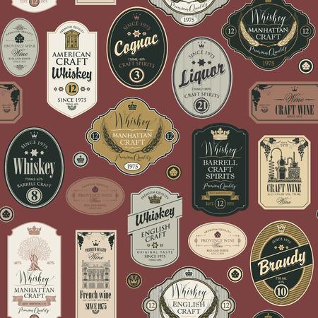 Wektor wzór z kolażem etykiet dla różnych napojów alkoholowych na bordowym tle w stylu retro z napisami whisky, likier, koniak, wino, brandy.