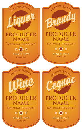 Vector set of four labels for various alcoholic beverages in the figured frame with calligraphic inscriptions on the amber background in retro style. Vector Illustration