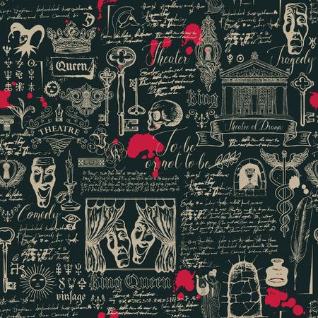 Patrón transparente de vector sobre el tema del teatro y el drama con dibujos y letras en estilo vintage. Papel tapiz retro, papel de regalo o telón de fondo para textil con bocetos y borrones