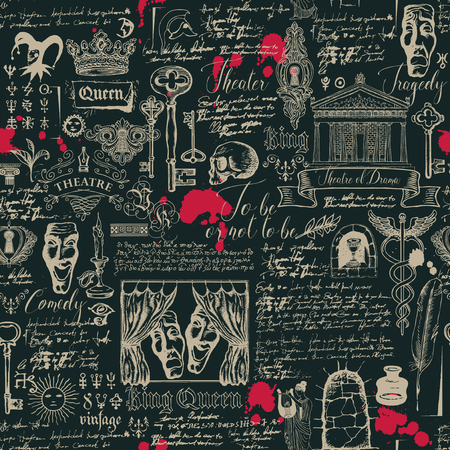 Vector seamless pattern on the theme of theater and drama with drawings and lettering in vintage style. Retro wallpaper, wrapping paper or backdrop for textile with sketches and blots