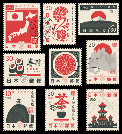 Set di francobolli vettoriali sul tema della cultura giapponese in stile retrò. Geroglifico Japan Post, Sushi, Tè, Perfezione, Felicità, Verità