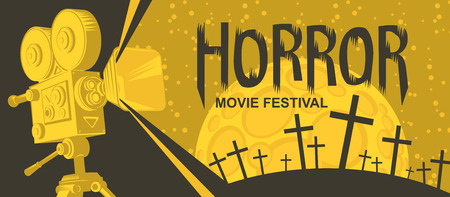 Vector banner for a festival horror movie. Illustration with old film projector and a cemetery on a moonlit night. Scary cinema. Can be used for ad, banner, flyer, web design