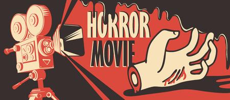 Transparent wektor na festiwal horroru. Ilustracja ze starym projektorem filmowym i odciętą ręką w kałuży krwi. Straszne kino. Noc horrorów. Może być używany do reklam, banerów, ulotek, projektowania stron internetowych