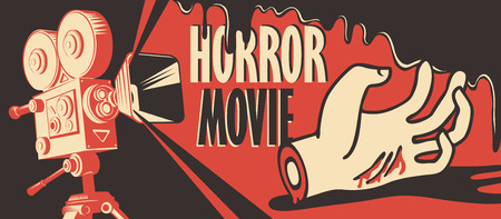 Vector banner for festival horror movie. Illustration with old film projector and a severed hand in a puddle of blood. Scary cinema. Horror film night. Can be used for ad, banner, flyer, web design
