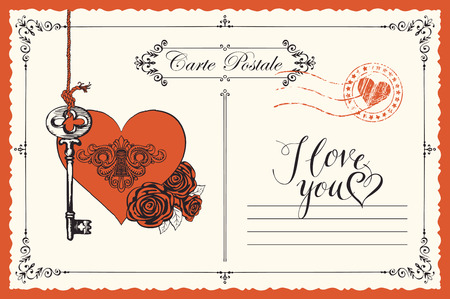 Vector retro postcard on the theme of declaration of love with key, keyhole in the heart and red roses. Romantic valentine card in vintage style with inscription I love you and place for text Vettoriali