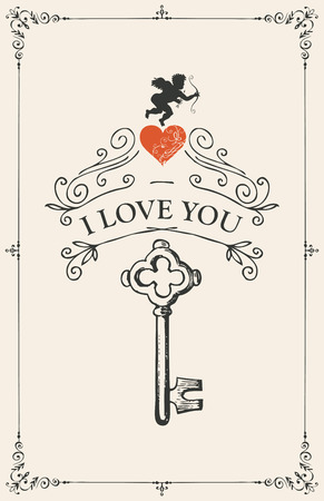 Vector greeting card with key, red heart and cupid. Romantic Valentine card with inscription I Love you in frame with curls in vintage style