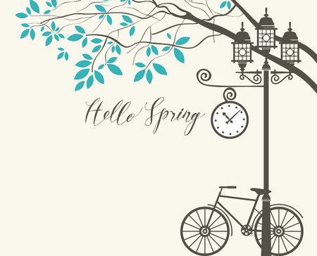 Vector banner with inscription Hello Spring. Spring landscape with green tree in the park, bicycle and Clock on the lamp post