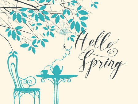 Vector landscape in retro style on the spring theme with calligraphic inscription Hello spring, with a cup of hot drink on the table under the tree with spider and cobweb. Ilustração