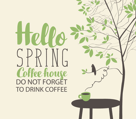 Vector banner on the coffee theme with spring landscape in retro style with the inscriptions, with a cup of hot coffee on the table and bird on the branch of green spring tree.