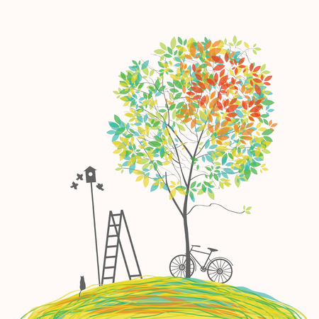 Vector illustration on the spring theme with green tree, bike, birds, birdhouse, cat and ladder on the hill in cartoon style. Vector Illustratie