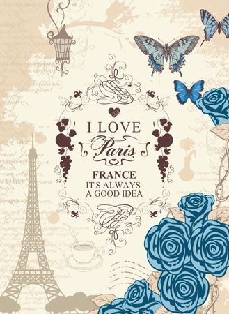 Vector travel banner in vintage style with words I love Paris, with the famous french Eiffel Tower, blue butterflies and roses on the background of the old manuscript with spots.