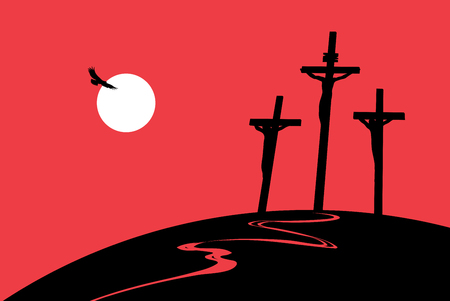 Vector landscape on religious theme with mount Calvary and a silhouettes of three crosses with crucified people at sunset. Banner for Easter or good Friday