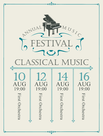 Poster for the annual festival of classical music with grand piano on the light  in vintage style Banque d'images - 118688992
