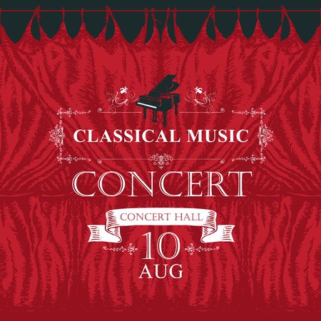 Vector poster for a concert or festival of classical music in vintage style with hand-drawn red stage curtains and grand piano Banque d'images - 125779327