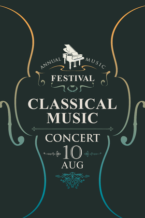 Vector poster for the annual festival of classical music with violins and grand piano on the black background in vintage style Banque d'images - 125779328