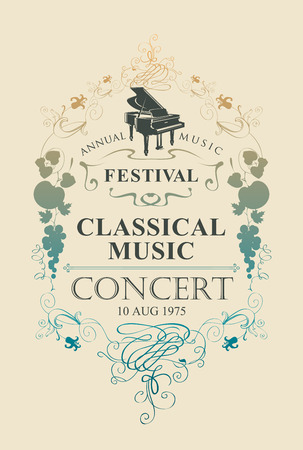 Vector poster for a concert of classical music with grand piano and vignette in vintage style on beige background