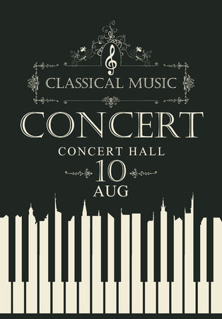 Poster for a concert of classical music with piano keys and treble clef in retro style on black