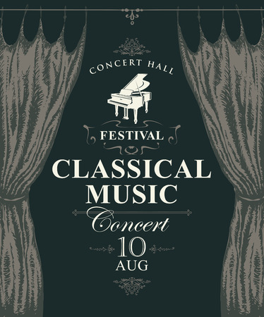 Vector poster for a concert or festival of classical music in vintage style with hand-drawn stage curtains and grand piano Banque d'images - 125691549