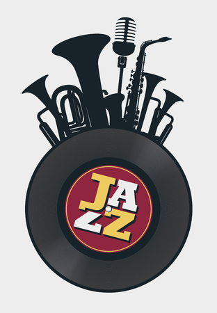 Poster on the theme of jazz music in retro style on white  with vinyl record