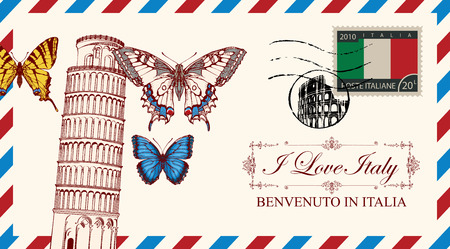 Vector envelope or postcard in retro style with leaning tower of Pisa and butterflies, postmark in form of Roman Coliseum and postage stamp with Italian flag. Calligraphic inscription I love Italy