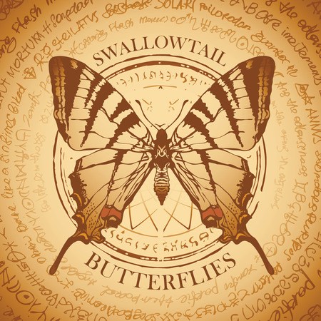 Illustration of a Swallowtail machaon butterfly on the old abstract background with illegible inscriptions written in a circle. Vector banner in retro style in beige colors.