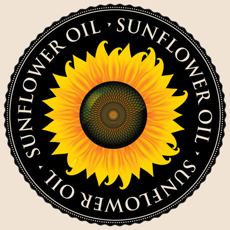 Banner or label for sunflower oil with yellow sunflower inscribed in a black round frame