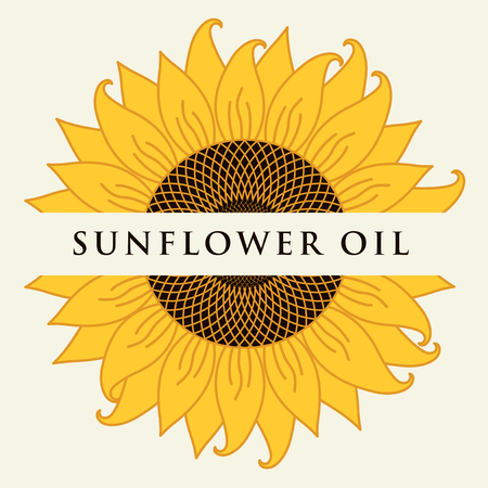 Square  banner or label for sunflower oil in the form of sunflower close-up with inscription on light 矢量图像