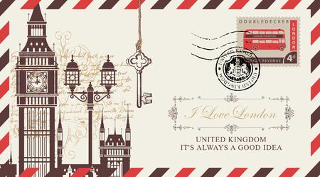 Carte postale vectorielle ou enveloppe avec Big Ben à Londres, lampadaire et inscription J'aime Londres. Carte postale rétro avec cachet en forme d'armoiries royales et timbre-poste avec bus à impériale Vecteurs