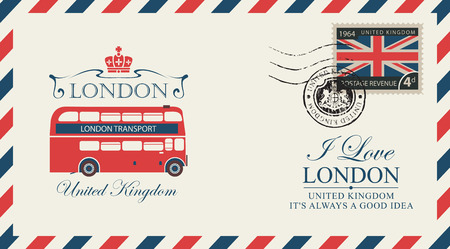 Postcard or envelope with the London double decker and inscriptions.