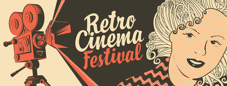 Vector banner on the theme of movie and cinema with old film projector, girls face and calligraphic inscription Retro cinema festival. Can be used for flyer, poster, ticket, web page, background