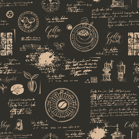 Vector seamless pattern on the coffee theme with a various coffee symbols, blots and inscriptions on a background of old manuscript in retro style. Can be used as wallpaper or wrapping paper Stock Illustratie