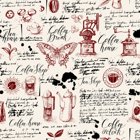 Vector seamless pattern on tea and coffee theme in retro style. Various coffee symbols, butterfly, blots and inscriptions on a background of old manuscript. Can be used as wallpaper or wrapping paper