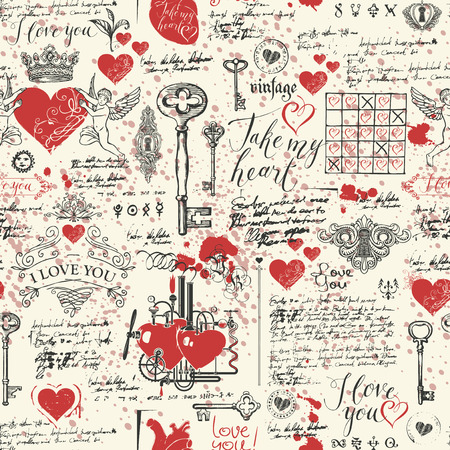 Seamless  on the theme of Declaration of love and Valentines day in retro style.
