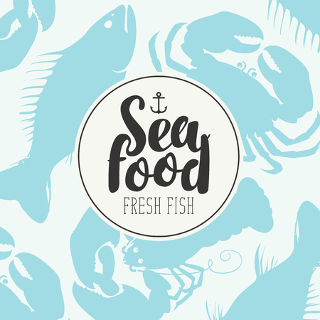 Banner for seafood shop or restaurant with a ship