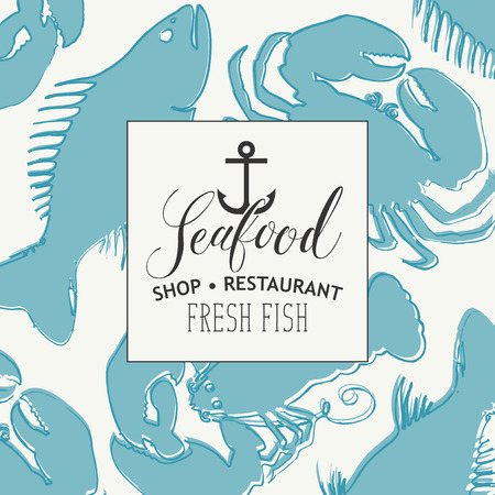 Banner for seafood shop or restaurant with a ship anchor