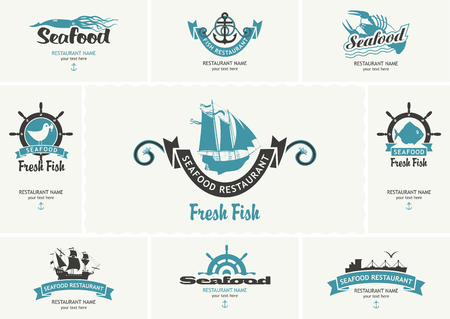 Set of  business cards with logos on the theme of seafood in retro style