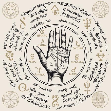 Ancient hieroglyphs, medieval runes, spiritual symbols. Illustration