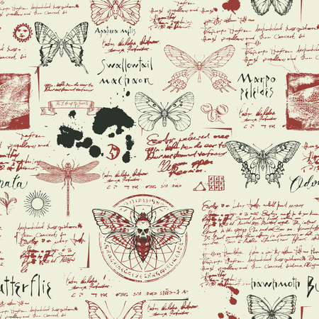 Vector seamless abstract background with insects. Various butterflies, moths, sketches, ink spots and handwritten inscriptions on the old manuscript. Can be used as retro wallpaper, wrapping paper