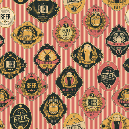 Vector seamless pattern on the theme of beer with various beer labels with images of barrels, beer glasses, mills, laurel wreathes, ears of wheat and other in retro style on the striped background