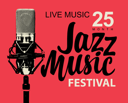 Vector music poster or banner with calligraphic inscription Jazz music and realistic microphone on the red background in retro style Illustration