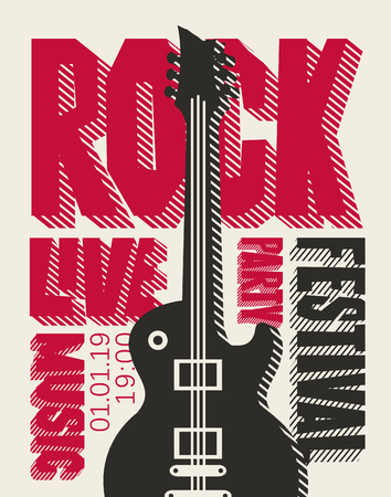 Vector poster or banner for Rock Festival or party of live music with an electric guitar. Template for flyers, banners, invitations, brochures and covers