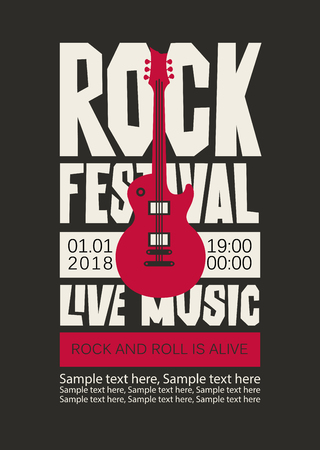 Vector poster or banner for Rock Festival of live music with an electric guitar and place for text on the back background. Rock and roll is alive.