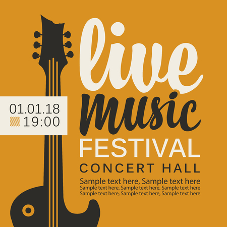 Vector banner or poster for live music festival with guitar, calligraphic inscription and place for text in retro style on the yellow background