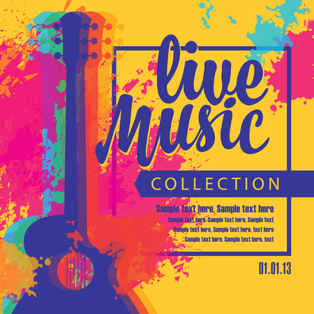 Poster with multi color acoustic guitars, bright abstract spots