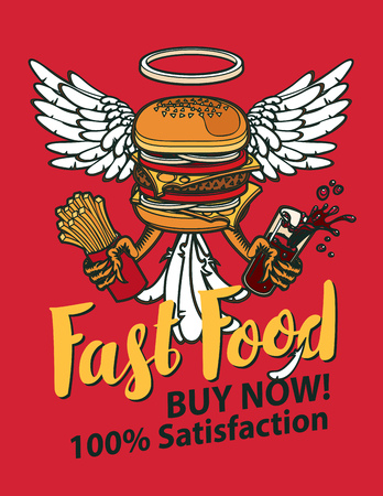 Vector banner for fast food with Burger, French fries and cola in retro style. Pop art illustration of a Burger with wings and paws on a red background. Fast food, healthy and unhealthy food Illustration