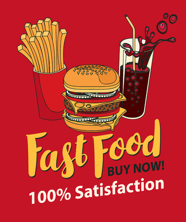 Vector banner for fast food with Burger, French fries and cola in retro style. Pop art illustration with handwritten inscription on a rde background. Fast food, healthy and unhealthy food