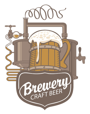 Banner for craft beer and brewery, with a calligraphic inscription, wooden mug and brewing machine of the old brewery in retro style