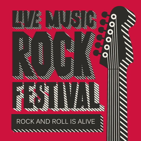 Vector poster or banner for Rock Festival of live music with a neck of electric guitar on the red background. Rock and roll is alive. Template for flyers, banners, invitations, brochures and covers
