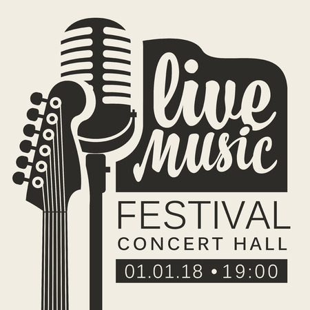 Vector poster for live music festival or concert with neck of acoustic guitar and microphone in retro style Illustration