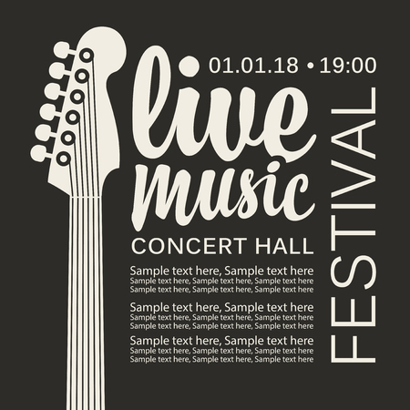 Vector poster for a live music festival or concert with an guitar neck and inscription in retro style. Template for flyers, banners, invitations, brochures and covers Ilustração
